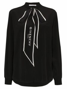 Givenchy logo-print pussy-bow blouse - Black