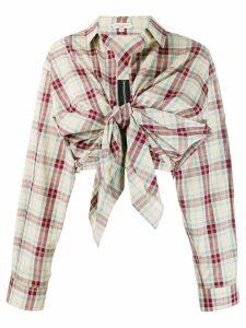 Natasha Zinko check tie front shirt - Neutrals