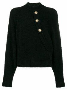 Balmain buttoned batwing sweater - Black