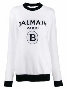Balmain intarsia logo jumper - White