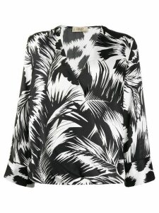 LIU JO printed V-neck blouse - Black