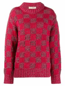 Marni check knit jumper - Red