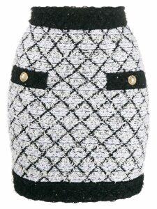 Balmain lattice tweed skirt - Black