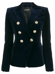 Balmain double breasted velvet blazer - Blue