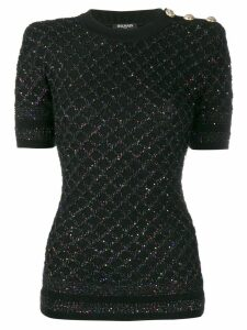 Balmain sequinned short-sleeved jumper - Black