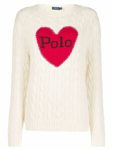 Polo Ralph Lauren logo heart print sweater - NEUTRALS
