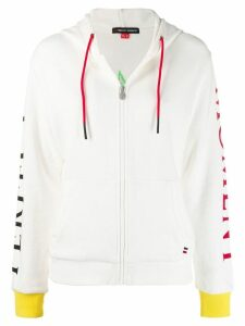 Perfect Moment logo patch zipped hoodie - White