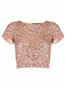 Alice+Olivia sequin cropped T-shirt - PINK