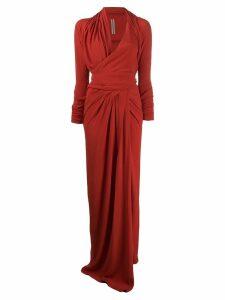 Rick Owens draped woven maxi dress - Red