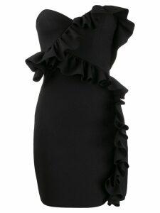 MSGM ruffle trim cocktail dress - Black