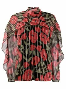Red Valentino camellia printed blouse - Black
