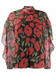 RedValentino camellia printed blouse - Black