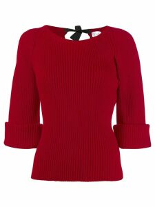 Red Valentino boat neck ribbed sweater