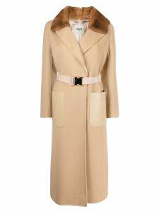 Fendi wrap style belted coat - Neutrals