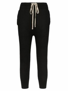 Rick Owens cropped cashmere joggers - Black