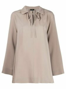 Joseph neck-tied flared blouse - Neutrals