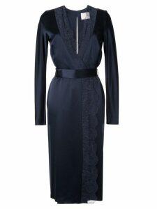 Dion Lee satin lace-panelled dress - Blue
