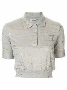 Bambah marble cropped polo top - Grey