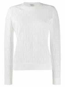Fendi textured logo knit jumper - White