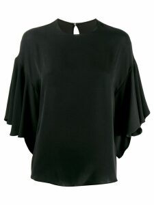 Valentino ruffled batwing blouse - Black