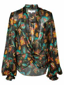 Caroline Constas sheer printed plunge blouse - Black