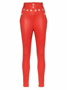 Skiim Natalie high-waisted leather trousers - Red