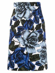 Prada rose print A-line skirt - Blue