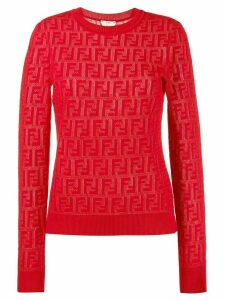 Fendi jacquard knit FF logo sweater - Red
