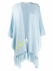 Emilio Pucci Tasselled Logo Cashmere Shawl - Blue