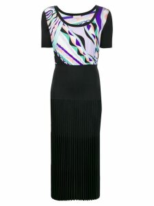 Emilio Pucci Burle Print Pleated Dress - Black