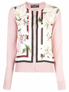 Dolce & Gabbana floral-panelled cardigan - PINK