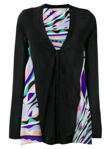 Emilio Pucci multicoloured print detail cardigan - Black