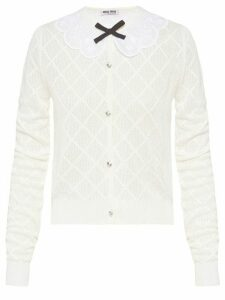 Miu Miu diamond pattern bow cardigan - White