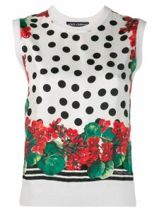 Dolce & Gabbana printed knitted top - White