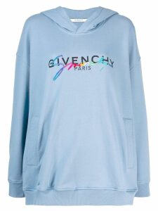 Givenchy contrast logo hoodie - Blue