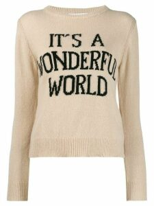 Alberta Ferretti 'It's a wonderful world' jumper - NEUTRALS