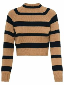 Miu Miu striped mock neck jumper - Brown