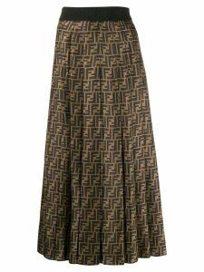Fendi FF pleated midi skirt - Black