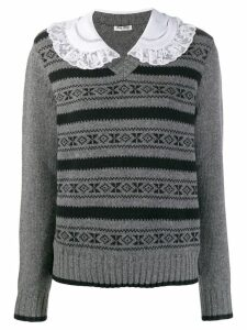 Miu Miu Peter Pan collar jumper - Grey