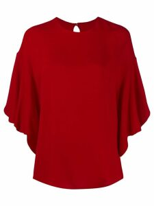 Valentino frilled tulip-sleeve blouse - Red