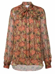 Oscar de la Renta floral long-sleeve blouse - Red