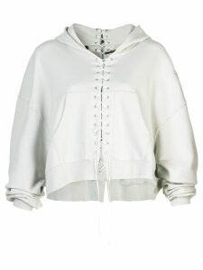 Unravel Project lace up hoodie - Neutrals