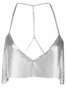 Fannie Schiavoni sequin embroidered top - SILVER