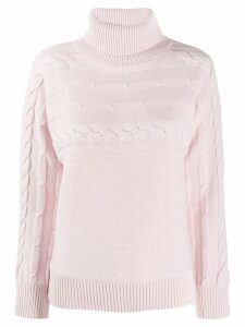Peserico cable knit turtleneck jumper - PINK