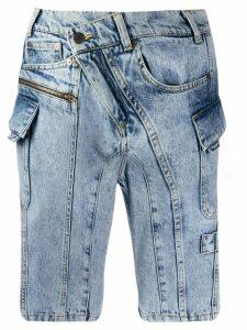 Ottolinger off-centre button shorts - Blue