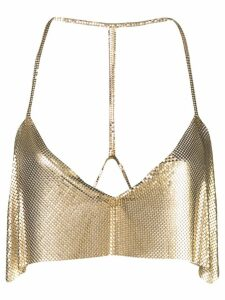 Fannie Schiavoni cropped chainmail top - GOLD
