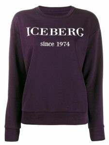 Iceberg logo embroidered sweatshirt - PURPLE