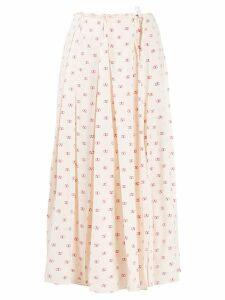 Valentino VLOGO print pleated skirt - NEUTRALS