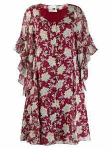 Chloé floral frill sleeve dress - Red