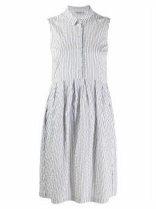 Peserico striped sleeveless shirt dress - White